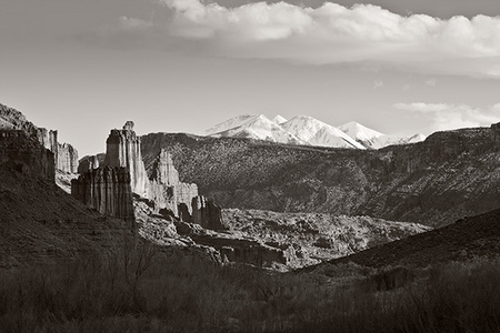 """Fisher Towers and La Sal Mountains""     Moab, Utah"