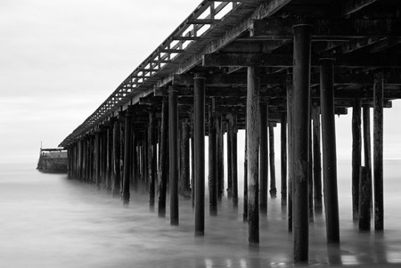 """Cement Ship Pier in Black & White""     Aptos, California"