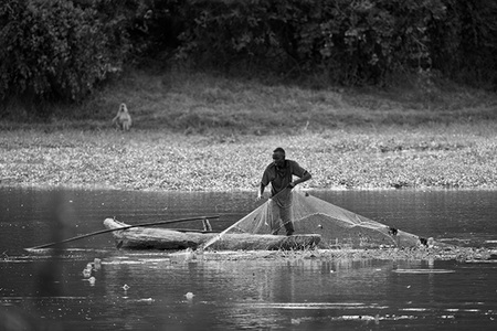 """Fisherman and Baboon""     Mfuwe, Zambia"